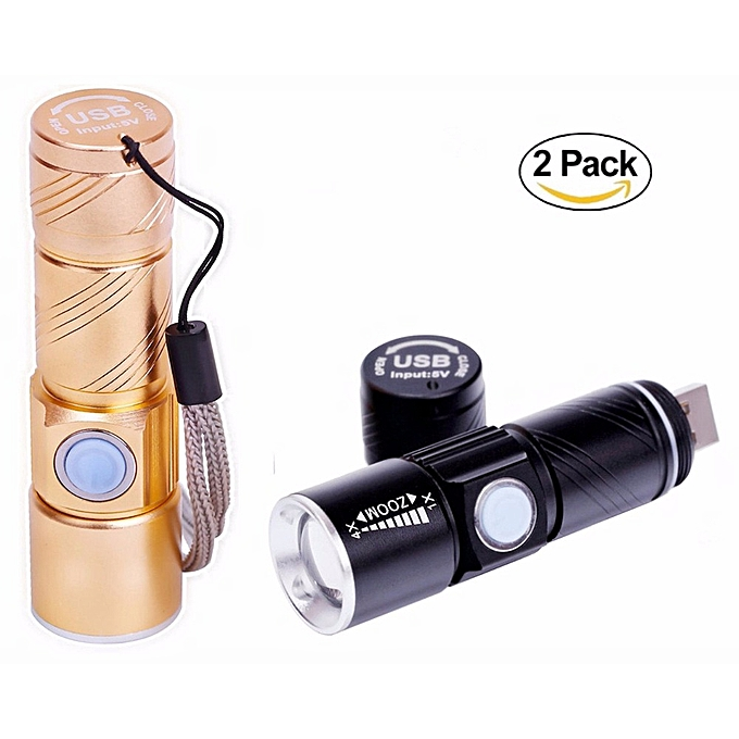 Other Powerful LED Flashlight USB Handy Rechargeable Torch usb Flash Light Bike Pocket LED Zoomable Lamp For Hunting noir à prix pas cher
