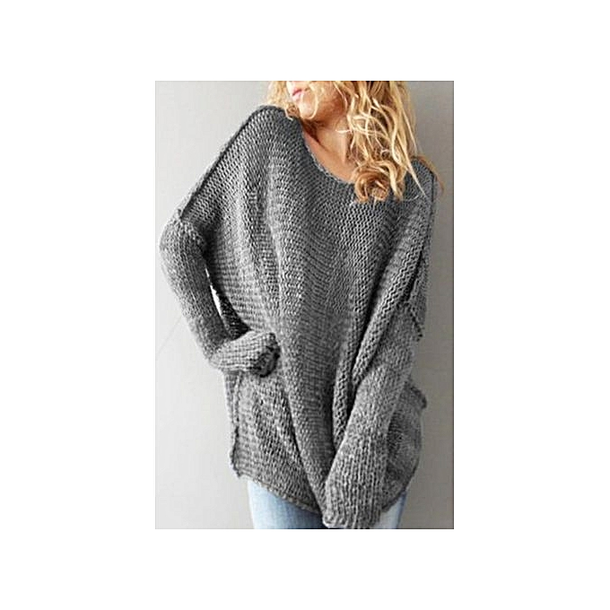 Fashion YOINS femmes Fashion Clothing Casual Round Neck Long Sleeve gris Jumper Top à prix pas cher