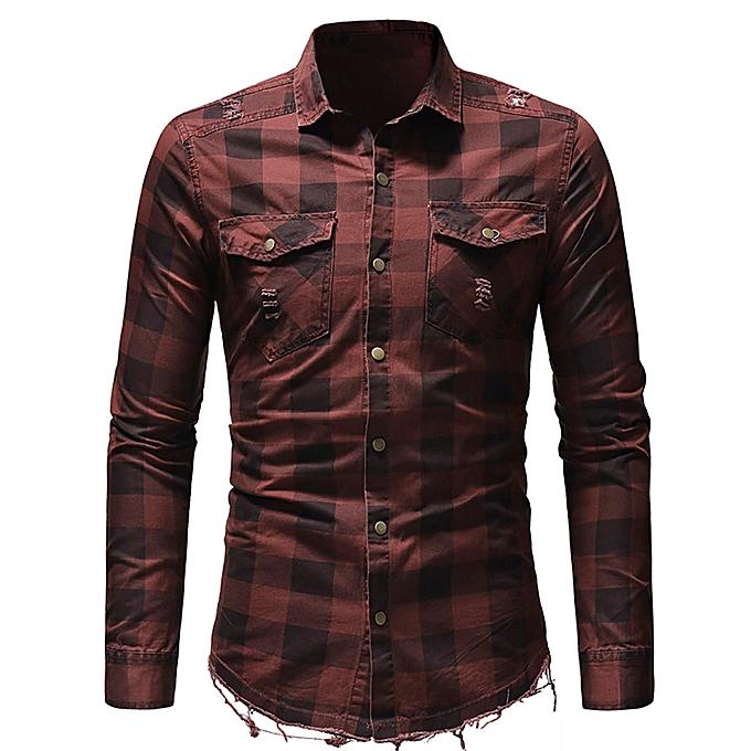 mode Hommes& 039;s Slim Fit Button Plaid Shirt With Pocket manche longue hauts chemisier RD M à prix pas cher