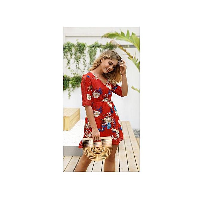 GeneAfrica rouge femmes V Neck Printed Gown Elegant Robees à prix pas cher
