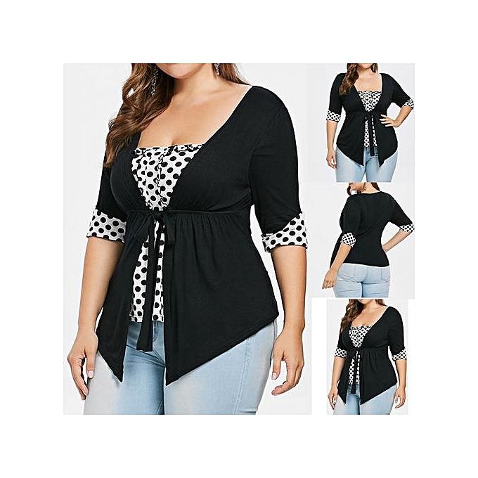 mode Xiuxingzi mode femmes Plus Taille Square Neck Polka Dot Ribbons Empire Waist T-shirt Tee à prix pas cher