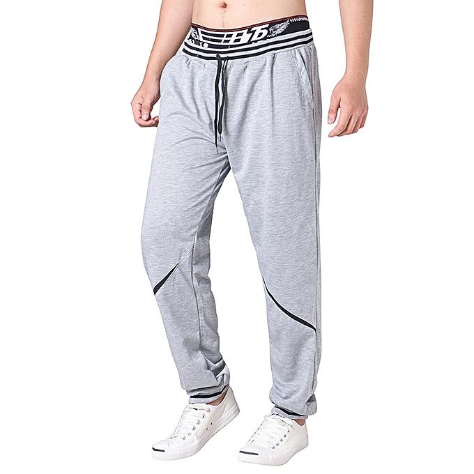 Fashion Men's Elastic Waist Drawstring Loose Casual Pants Comfort Stripe Waistline Sports Trousers à prix pas cher