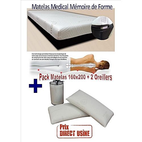 Pack matelas memoire de forme 160x200cm 2 oreillers viscoelastique