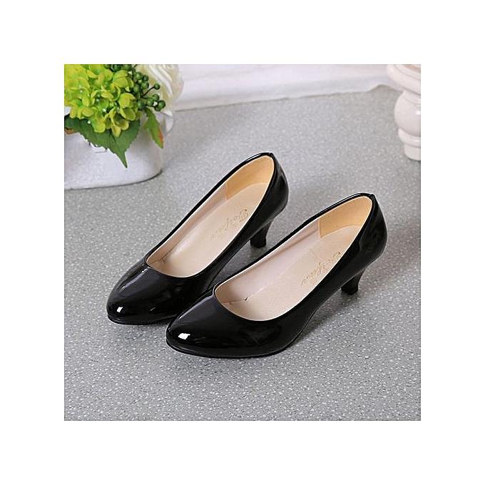Fashion Hiamok_Nude Shallow Mouth femmes Office Work Heels chaussures Elegant Ladies Low Heel BK 36 à prix pas cher