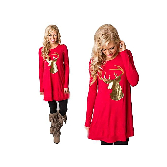 Generic Xiuxingzi femmes Fashion  Dress Round Collar Christmas Elk Long Sleeve Casual Dress à prix pas cher