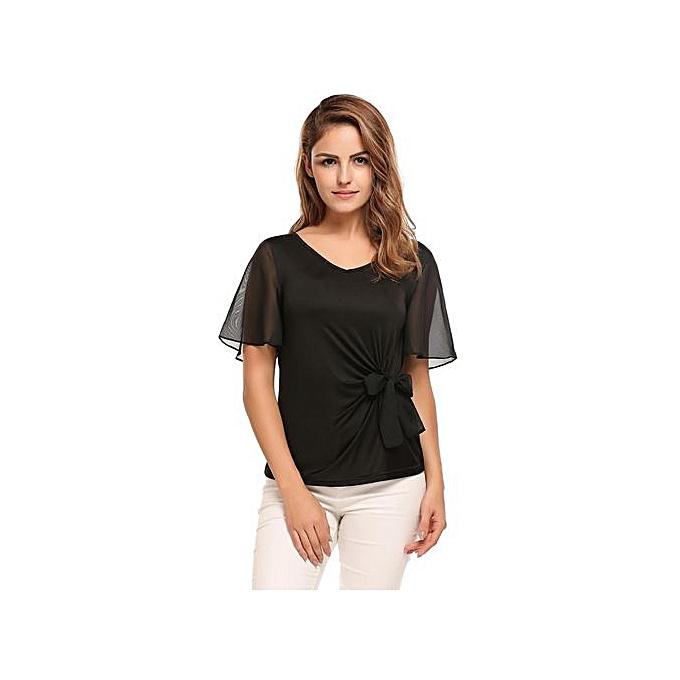 Sunshine femmes Bell Sleeve V-neck T-shirt Solid Bow Decor Casual Slim Tops Blouse-noir à prix pas cher