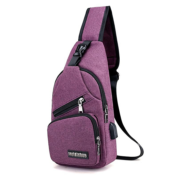 UNIVERSAL Casual Outdoor Travel Sling Bag Chest Bag Crossbody Bag with USB Charging Port à prix pas cher