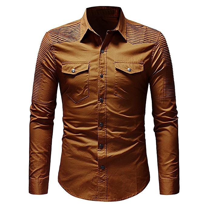 mode jiuhap store Hommes& 039;s Décontracté Slim Fit Button Shirt With Pocket manche longue hauts chemisier KH L à prix pas cher