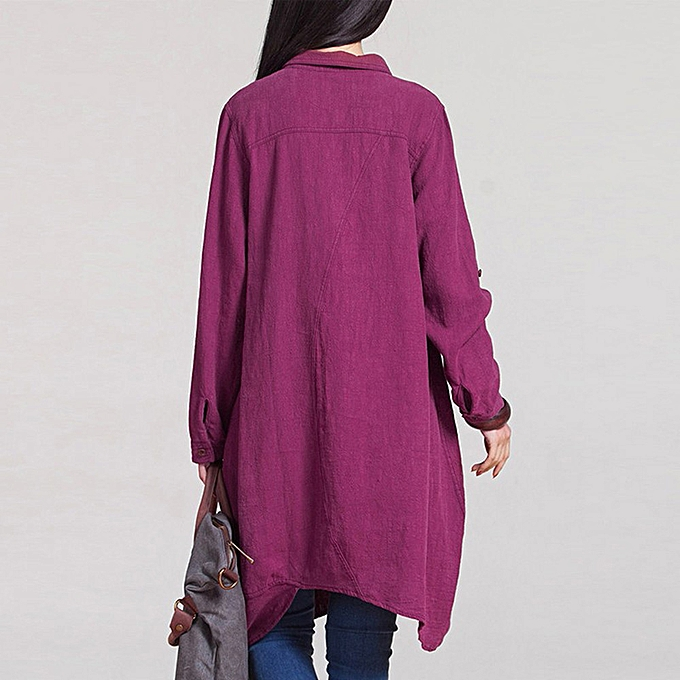 mode (Xiuxingzi) femmes chemisiers manche longue Irregular Hem Cotton Shirts Décontracté Loose hauts HOT S à prix pas cher