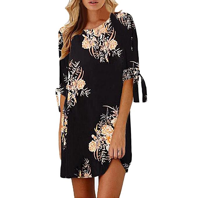 mode quanxinhshang femmes Floral Print Bowknot Sleeves Cocktail Mini Robe Décontracté Party Robe L à prix pas cher
