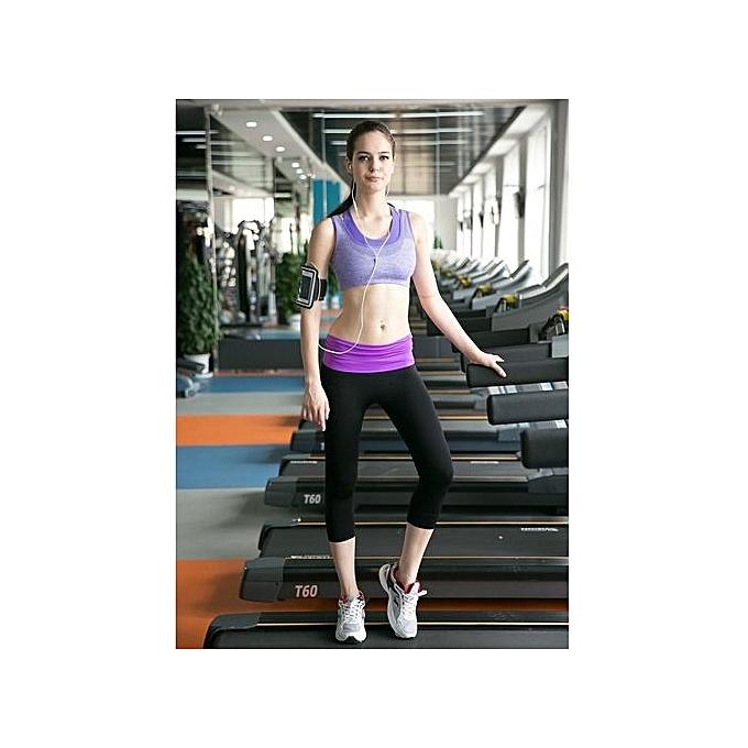 Generic HL Active U Neck Pure Couleur Wireless Push Up Faux Two Piece Crop Top For Ladies (violet) à prix pas cher