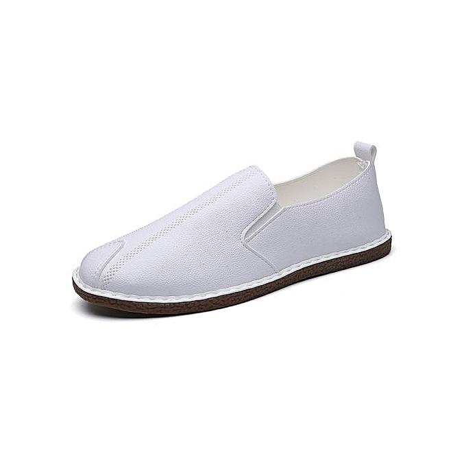 HT Hommes Simple lumière Weight Loafers Flats-blanc à prix pas cher