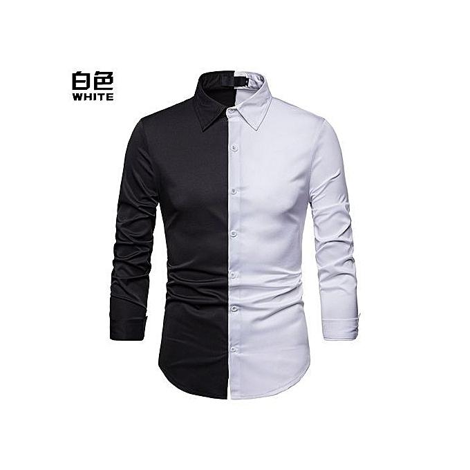 OEM Hommes Shirt Splice Turn-Down Collar Décontracté Slim Fit Male Shirts Hommes& 039;s manche longued mode Shirt -blanc à prix pas cher