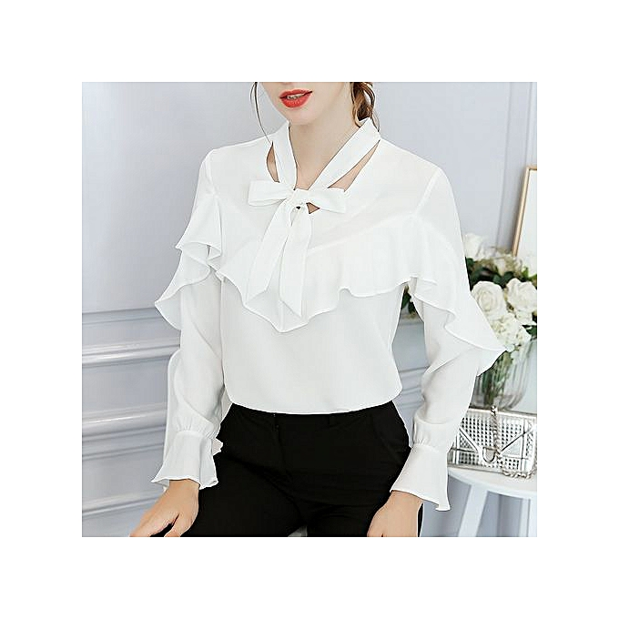 Generic New wild big Taille slim casual trend long sleeve solid Couleur blouse-blanc à prix pas cher
