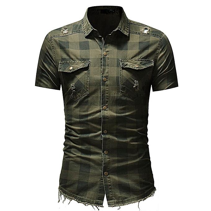 Generic Generic Hommes& 039;s Slim Fit Button Plaid Shirt With Pocket manche courte hauts chemisier à prix pas cher