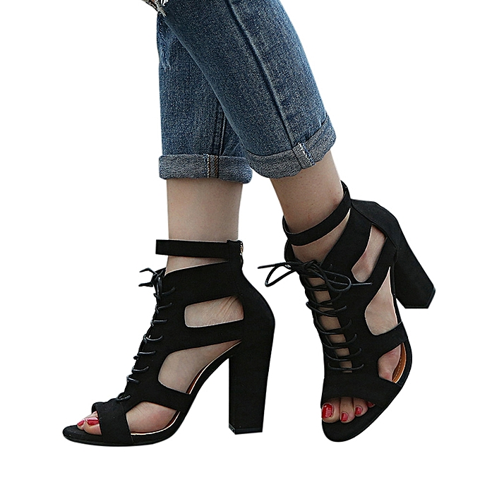 mode femmes mode Scrub HolFaible Out Cross cravated Rome chaussures Super Heel chaussures noir - à prix pas cher