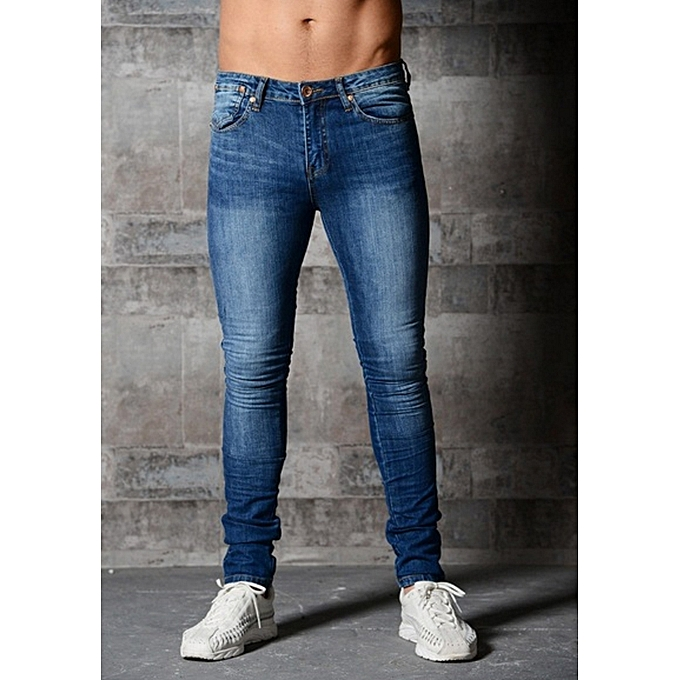new Men s Skinny Jeans Solid Color elastic zipper men s feet pants fashion  men jeans-dark a44da23fa87