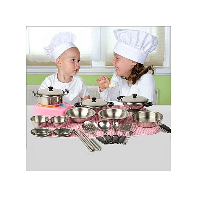 UNIVERSAL Henoesty 20Pcs acier inoxydable Pots Pans Cookware Miniature Toy Pretend Play Gift For Enfant à prix pas cher