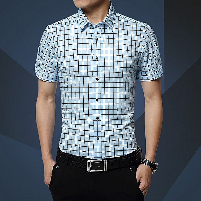 Tauntte Check Formal Shirts Men Short Sleeve Slim Fit Business Casual Shirts à prix pas cher