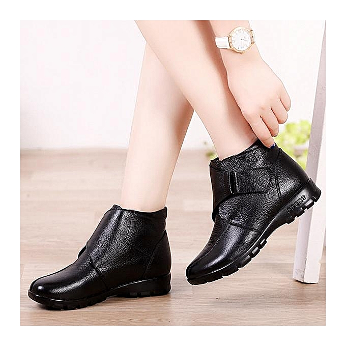 Fashion Fashion WoHommes  Large Size Hook Ankle Loop Fur Lining Cow Leather Black Casual Winter Ankle Hook Boots à prix pas cher    Jumia Maroc b501a9