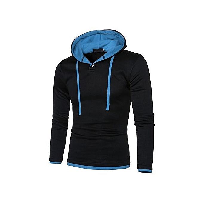 Cuena Hommes manche longue sweat à capuche Warm encapuchonné Coat veste Outwear Sport hauts BU 3XL-bleu à prix pas cher