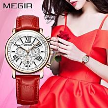 f2cf7367dcb84 Megir ساعة للنساء من النوع الفاخر - حزام جلد ذات نوعية عالية
