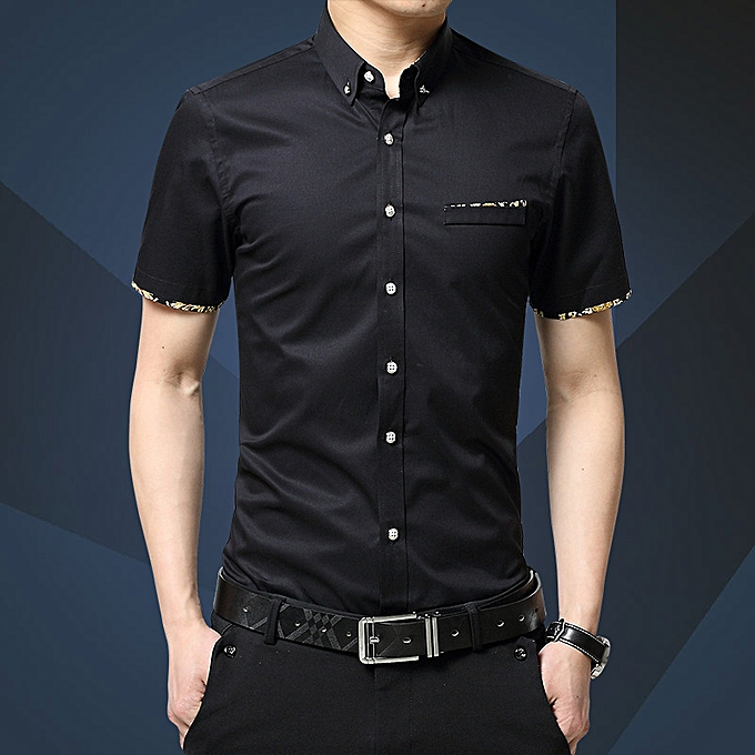 Fashion Fashion youth casual thin section Korean version of the trend handsome fat loose short-sleeved shirt noir à prix pas cher