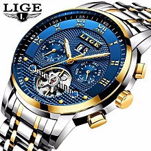 6703aef09 New 2018 LIGE Brand Watch Men Top Luxury Automatic Mechanical Watch Men  Stainless Steel Clock Business
