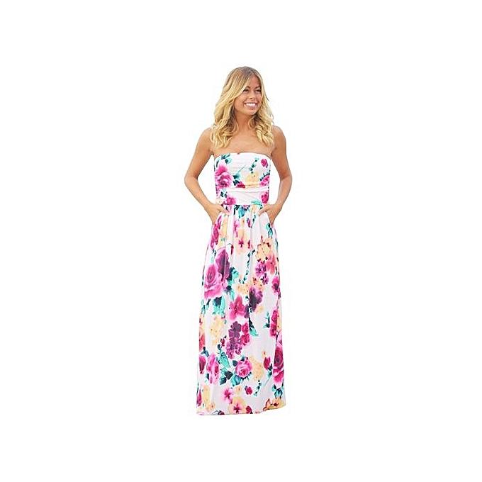 bleuLife Floral Printed Wrapped Chest Maxi Dress - MultiCouleur à prix pas cher