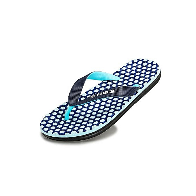 Generic Super Large Taille Summer Fashion Mens Flip Flops Anti-slip Word Drag  Massage Beach Slippers-bleu à prix pas cher