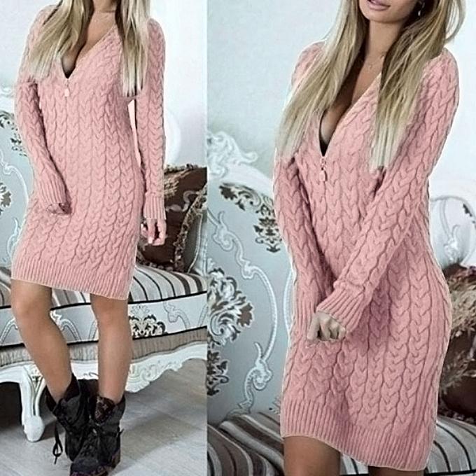mode jiahsyc store  femmes Knitted Zipper V Neck manche longue chandail Robe Bodycon Mini Robe-rose à prix pas cher