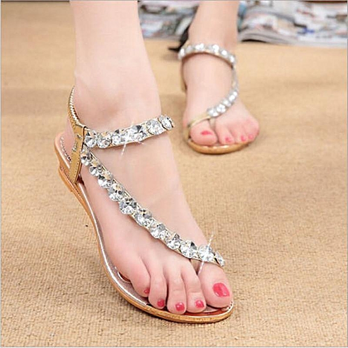 Fashion NEW Bohemia femmes Rhinestone Flat Sandals Beach Flip Flops Slippers Thong chaussures or à prix pas cher
