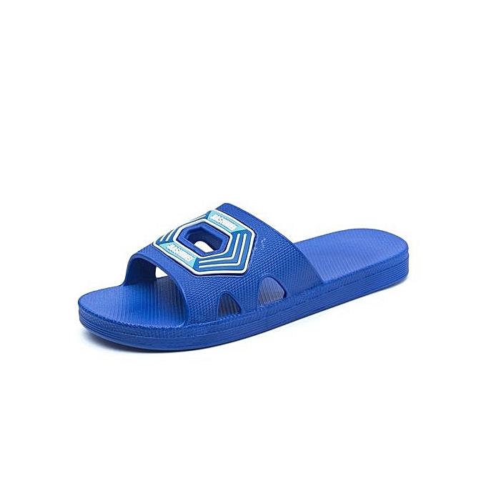 Generic Men Summer Slippers Outdoor Beach Sandals Flip Flop Slip On Fashion Slippers Casual Flat Slides-bleu à prix pas cher