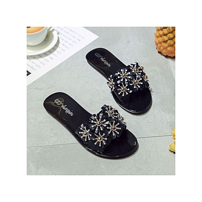 Fashion Jiahsyc Store Ladies Summer Beach Floral Platform Slippers Casual Wedge Sandals femmes chaussures-noir à prix pas cher
