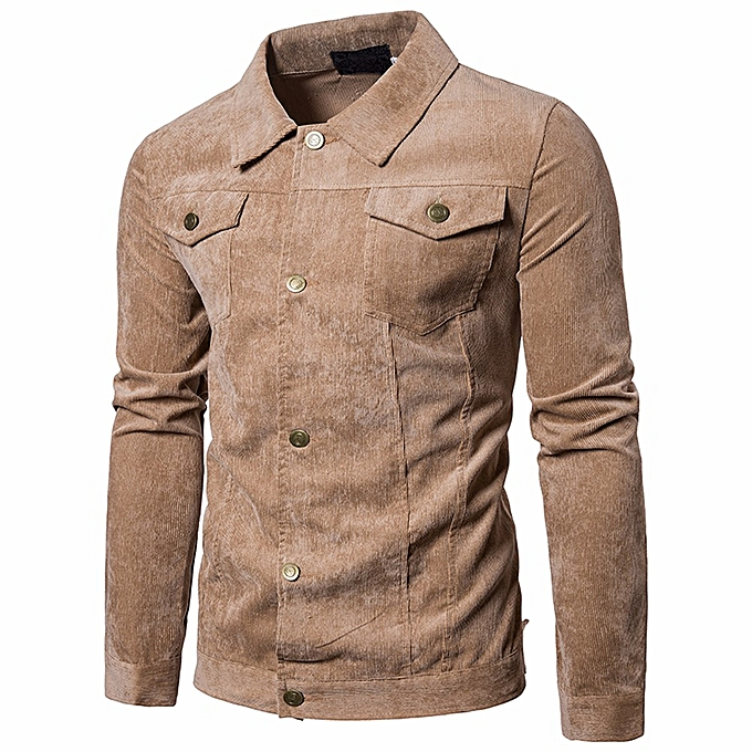 Fashion whiskyky store Men's Long Sleeve Corduroy Tops Turn Down Collar Jacket Coat Outwear With Pocket à prix pas cher