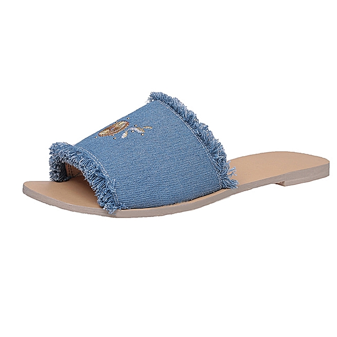 Fashion Blicool chaussures femmes Denim Summer Fashion Pineapple Flower Pattern Comfortable Female Slippers bleu à prix pas cher