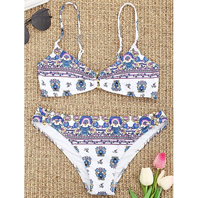 Generic HL Tiny Floral Print Padded Bikini (blanc) (M, L, S) à prix pas cher