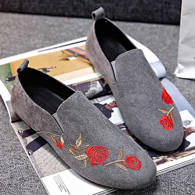 Other New Stylish Men's Spring Trend New Leisure Suede Embroiderouge Bean chaussures-gris à prix pas cher