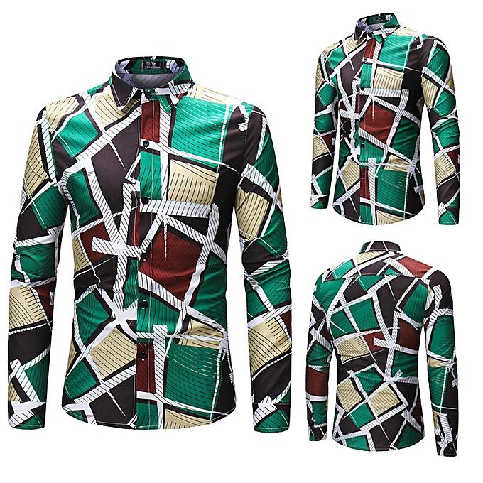 Fashion Men Fashion Geometry Printing Blouse Long Sleeve Shirts Tops à prix pas cher