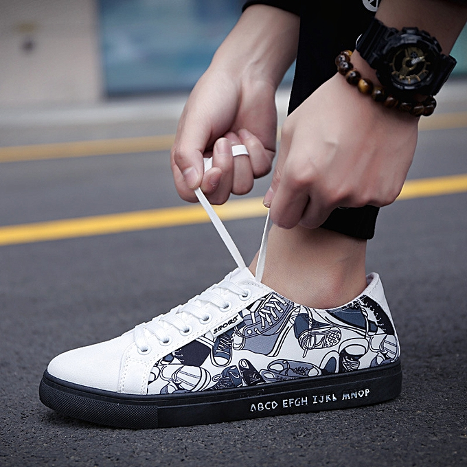 Fashion New hommes casual low-top canvas chaussures noir and blanc à prix pas cher    Jumia Maroc