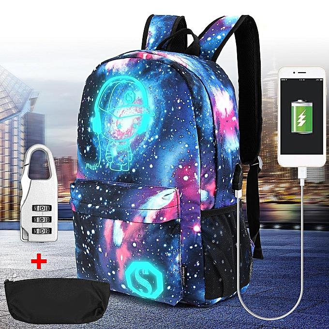 mode Unisex Girl Boy's Galaxy Pattern School sac voyage sac à dos toile USB Charger à prix pas cher