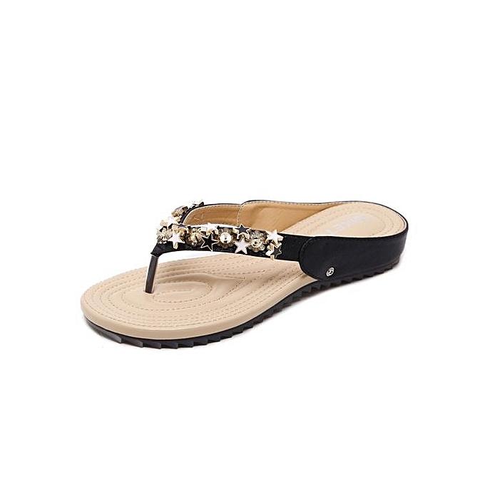 Generic Large Taille femmes Sandals Bohemian Beaded Soft Slipper Comfortable Flats Beach Slippers Flip Flops-noir à prix pas cher