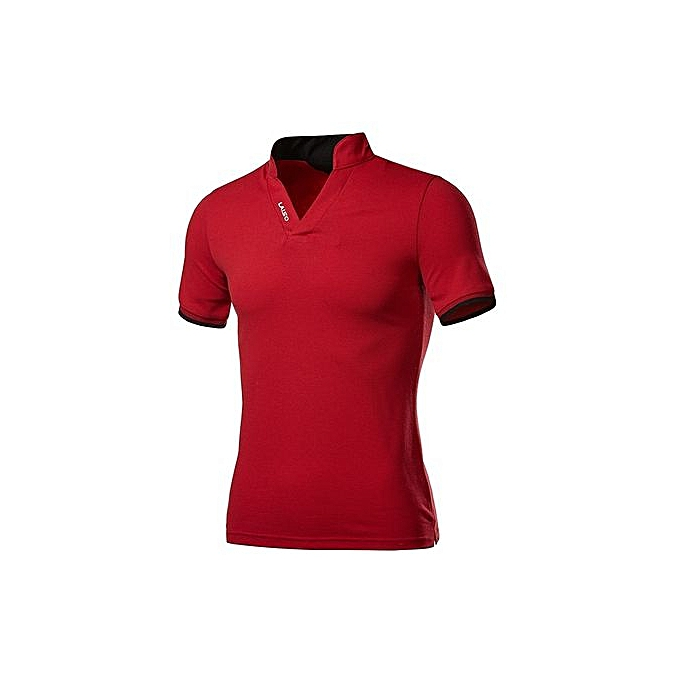 Other Hommes Standing Collar Embroidery Letter Polo Shirt à prix pas cher