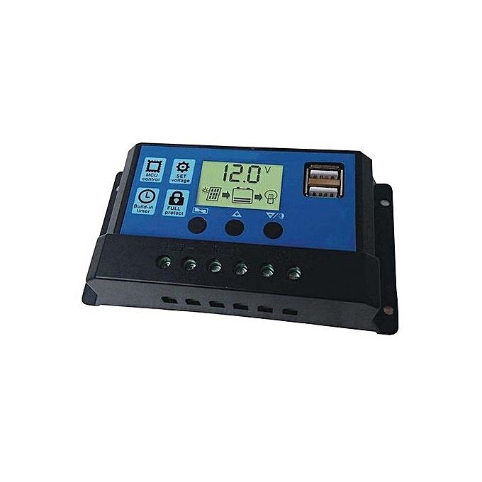 Fashion 10A LCD USB Solar Panel Charge Intelligent Controller 12V 24V Battery Auto Regulator à prix pas cher