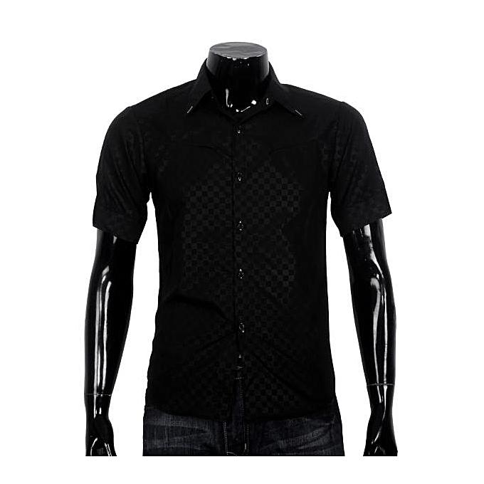 mode Obscure Hommes& 039;s Plaid courte-sleeved Shirt Slim noir L-  noir à prix pas cher