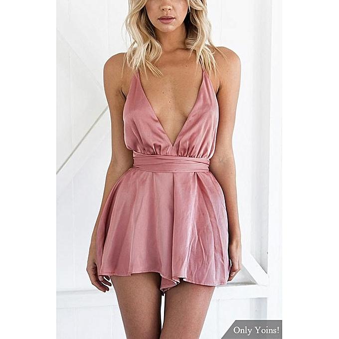 mode YOINS été femmes mode Clothing Décontracté Sleeveless V-neck rose Playsuit Top à prix pas cher