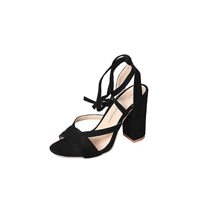 Fashion Bliccol High Heel chaussures Fashion femmes Ladies Sandals Ankle talons hauts Block Party Open Toe chaussures-noir à prix pas cher