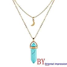 72dd69c4348 Women Multilayer Irregular Crystal Opals Pendant Necklace Choker Chain