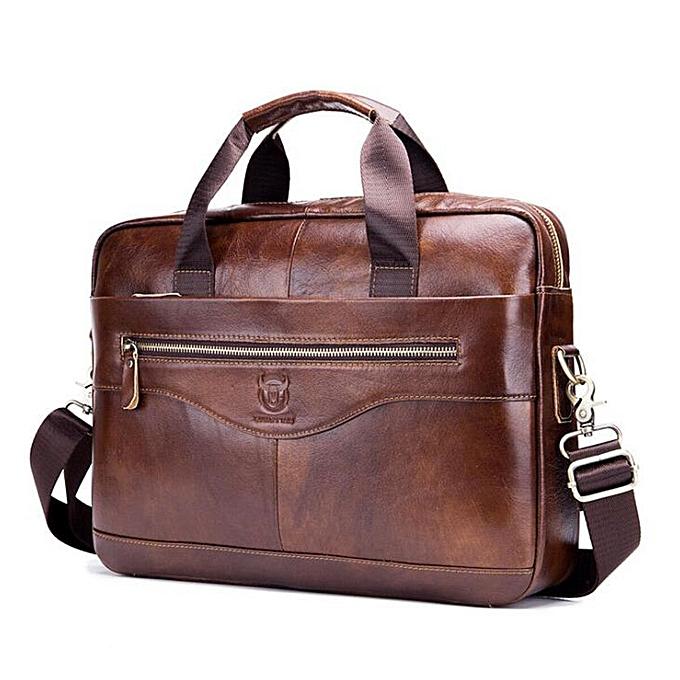 Other Men Briefcases Lawyer  Leather Handbag Vintage Laptop Briefcase Male Computer Shoulder Bags Casual Men's Bag Documents(marron) à prix pas cher