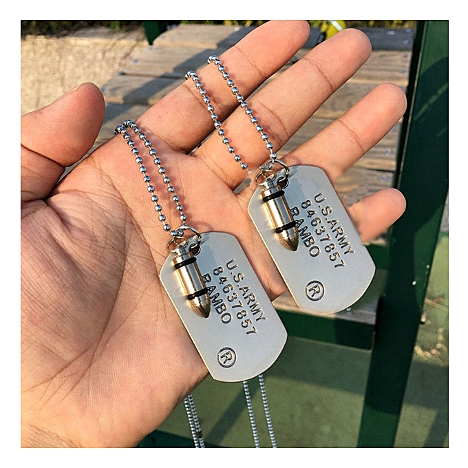 16a3f4a22b6 Haute Qualité Mode Hommes Militaire Armée Bullet Charme UNIQUE EN RELIEF  Chaîne Pendentif Collier Bijoux Cadeau